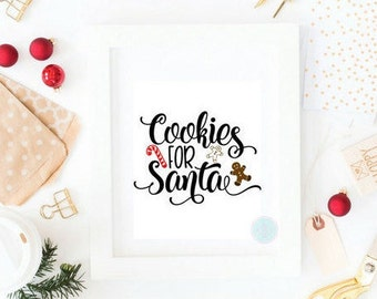 PRINTABLE ART Cookies For Santa Christmas Printable Holiday Decoration Christmas Decor Santa's Cookies Children Room Art Candy Cane Print