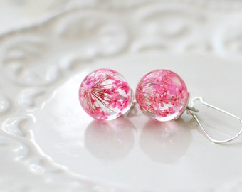 Mom gift Floral earrings mothers day jewelry pink Pressed flower nature inspired jewelry pink queens' anne's lace real flower jewelry