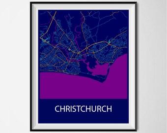 Christchurch Map Poster Print - Night