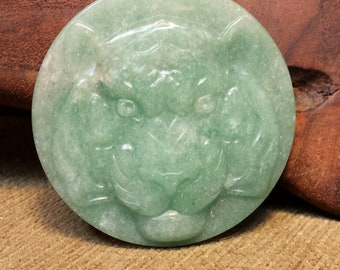 SALE #HonorSacrifice ~ NEW ~ Fierce Tiger Face carved in Large Round Natural Green Aventurine