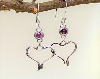 Sterling Ruby Heart Earrings, July Birthstone, Valentine Gift for Her, Handmade Ruby Dangles