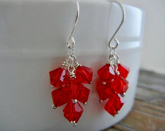 Red Passion Dangle Earrings -  Sterling Silver Earrings - Cascade Earrings - Blood Red Crystal Cluster Earrings - Bridesmaid Earrings