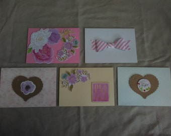 Set of five handmade luxury greeting cards