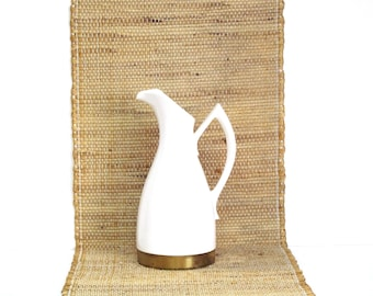 Vintage Homer Laughlin Kenilworth White Pitcher with Gold Tone Metal Base