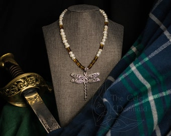 Outlander Dragonfly Pearl Necklace