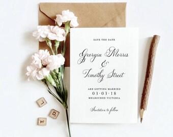 Save The Date, Printable Wedding, Calligraphy, Minimal Invitation, Wedding Suite