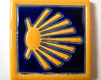 Camino de Santiago Scallop Shell Vieira Pilgrim Tile Fridge Magnet