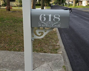 Mailbox Number Decal  With Street Name Under Scroll  -  Custom set of 2 with swirl accent, vinyl stickers, front door decor