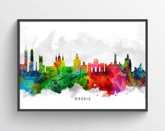Madrid Poster, Madrid Skyline, Madrid Cityscape, Madrid Print, Madrid Art, Madrid Decor, Home Decor, Gift Idea, ESMD12P