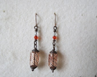 Blown glass and copper earrings