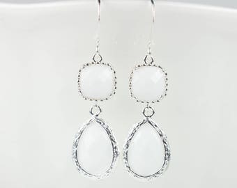 Long White Silver Earrings, White Silver Dangle Earrings, Long Silver Earrings, White Silver Earrings, Bridesmaid Jewelry