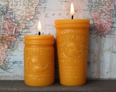 Beeswax Candles - Peanut Butter Jars - by Pollen Arts - Sm & Md