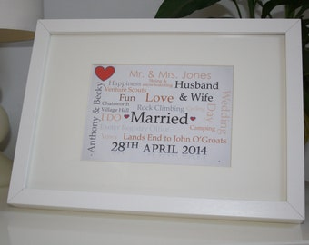 Wedding personalised Frame  - Perfect gift for wedding, birth, christening, birthday or other special event. Made to order.