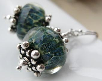 Islander Boro lampwork earrings in sterling silver