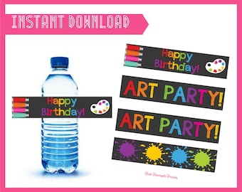 Art Party Water Bottle Labels - INSTANT DOWNLOAD