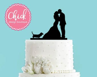 Couple Kissing with Basset Hound Dog Acrylic Wedding Cake Topper