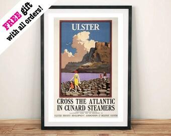 ULSTER TRAVEL POSTER: Vintage Northern Ireland Tourism Advert, Art Print