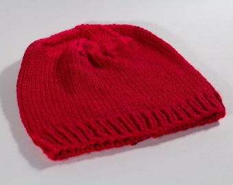 Two-Toned Red Handknit Beanie