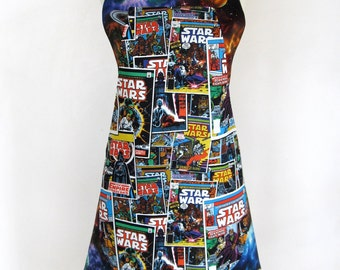 Apron-Star Wars-Jedi-Darth Vader-Princess Leia-Chewbacca-Outer Space-Moons-Sun-Galaxy-Planets-Nebula-Marvel Comic Books-Reversible! 2 in 1!!