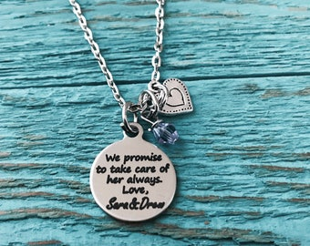 We promise to take, care of her always, Birthmother, Birth Mom, Birth Mother, Baby adoption, Silver Necklace, Charm Necklace, Keepsake, Gift