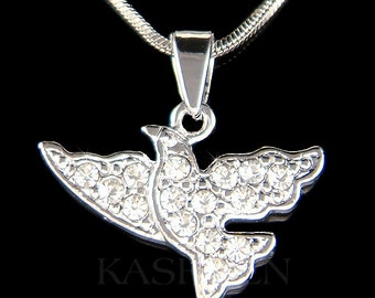 Dainty Swarovski Crystal Peace Dove Pigeon Peaceful Free Bird Pendant Charm Pendant Chain Necklace Best Friend Christmas Birthday Gift NEW