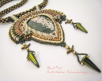 Ocean Jasper Bead Embroidery Pendant, Beadwoven Necklace with Jasper Pendant, Brown Green Glass Beads, Semiprecious Stone Jewelry, Gemstone