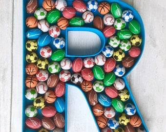 Large letter R, Chocolate gift for Dad, Personalised chocolate present, Edible gift for him, Gift for sports fan, Rugby fan gift, Basketball