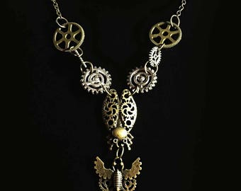 Steampunk Cogs Beetle and Dragon Fly Bronze Necklace