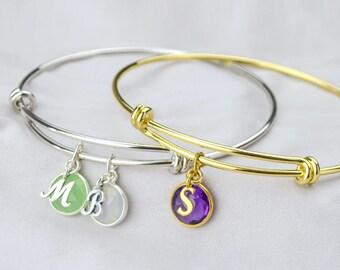 Custom bracelet for mom, Personalized mothers bracelet, Birthstone bangle bracelet, grandma bracelet stackable bangle family bangle initial