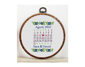 Personalized/Custom Wedding-Cross Stitch Pattern-Modern Sampler-Pdf-Instant Download