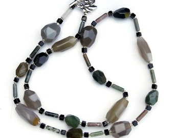 Long Handmade Avant Garde Agate Necklace, Unique OOAK Semiprecious Statement Jewelry, Forest Green Gray Beige, Art Deco, ALFAdesigns
