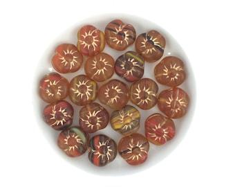 20pc 9mm Czech Glass Flower Disc Frosted Brown Swirl Gold Inlay-Bohemian-Bulk #3898E