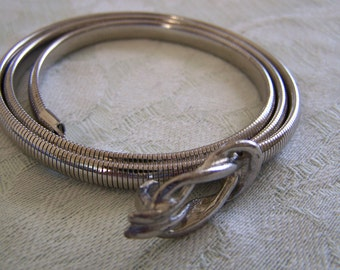 Vintage 60's  Ladies Party Snake / Cinch Belt Silver-toned Infinity Style Buckle