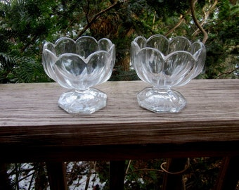 HEISEY GLASS paneled and scalloped sherbets, ice cream dishes