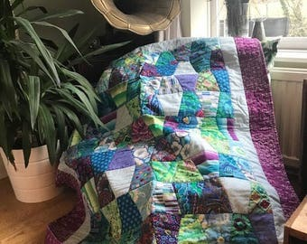 Bright Purple & Green Tumbler Lapsize Handmade Quilt