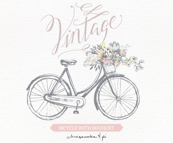 Vintage Bicycle With Floral Bouquet Clipart Wedding