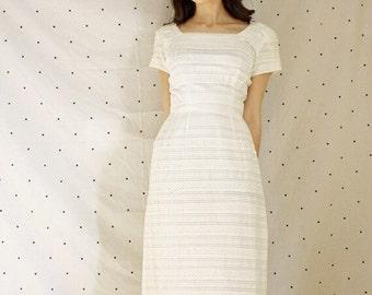 Vintage White 1950s Hourglass Dress//1950s Rockabilly White  Hourglass Dress // VLV Square Bodice // Shelf Bust