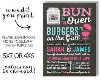 Gender reveal invitation - gender reveal BabyQ invitation -  BBQ gender reveal invitation - Barbecue gender reveal baby shower - printable