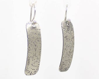 SPECKLES Short Sterling Silver Earrings, Dangle, Gift For Her, Curved, Textured