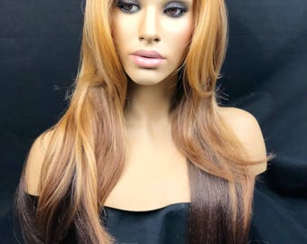 Wig, Light Auburn Dark Brown Two-Tone Long Layered Straight Lace Front Wig, Human Hair Blend Wig