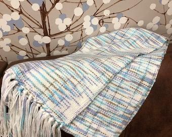 White / multicoloured handwowven scarf