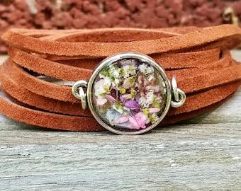 Wrap Bracelet, Choker, Real flowers,Suede bracelet, Leather Jewelry, Women accessories, boho, bohemain, hippie