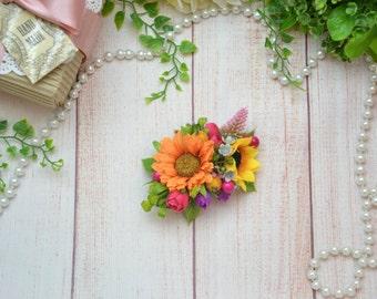 Bright hair clip Summer wedding hair clip Sunflower hair clip Pink purple hair clip Floral hair clip Outdoors wedding Spring wedding hair