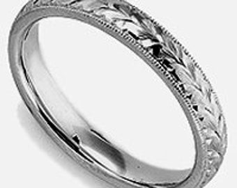 Women's Platinum Wedding Ring: 3mm Hand Engraved Made To Order Platinum Wedding Band