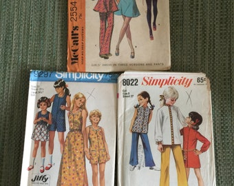 Collection of 3 vintage sewing patterns for girls  - Size 8 & 10