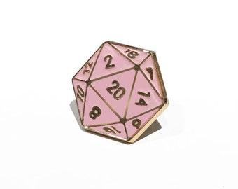 D20 Enamel Lapel Pin (Pink)