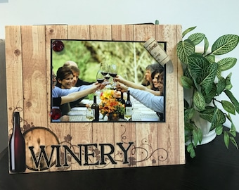 At The Winery - Magnetic Picture Frame Handmade Gift Present Home Decor by Frame A Memory Size 9 x 11 Holds 5 x 7 Photo - Vineyard Trip