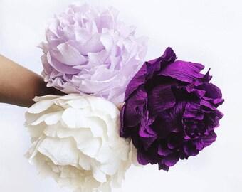 Crepe Paper Peonies-Peony Bouquet-Paper Flower Decor-Boho Decor-Nusery Decor-Floral Nursery-Baby Shower Decor-Wedding Decor