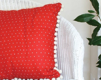 Red Polka Dot Line Union Cushion with Cream Pom Pom Trim