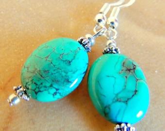 Genuine Turquoise Dangle Earrings, Sterling Silver